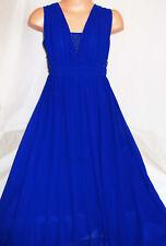 GIRLS ROYAL BLUE BEAD TRIM GRECIAN CHIFFON FULL LENGTH MAXI PROM PARTY DRESS