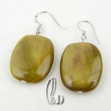 AU SELLER Chic Handmade burnish Grey Green Mother of pearls Earrings 030373