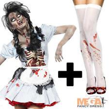 Zombie Dorothy + Blood Stockings Fancy Dress Womens Ladies Halloween Costume