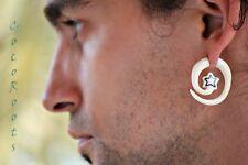 Fake Spiral Ear Gauge Carved Handmade Horn Bone Earring Body Piercing Silver Bar