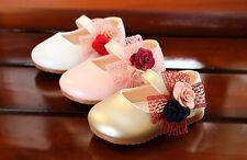 Bebé Niña Flor Moño Fiesta De Bautizo Zapatos Dorado Rosa Blanco 3 6 9 12 15