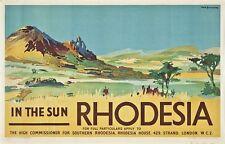 Vintage Rodesia del Sur de África cartel turístico A3 impresión