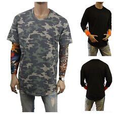 Men's T SHIRT Basic Extended Long Camouflage Crew Neck Fashion Hipster Baseball