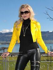 Lederjacke Leder Jacke Gelb Kurz Biker Größe 32 - 58 XS - XXXL