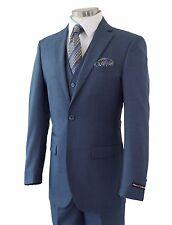 Men's Blue Sharkskin 3pc 2 Button Slim-Fit Suit w/ Matching Vest NEW