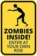Zombie Interior Divertido Señal De Advertencia introduce a su propio riesgo Adhesivo Autoadhesivo