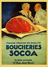 Steak Beef Butcher French France Food Restaurant Vintage Poster Repro FREE S/H