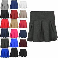 Kids Girls Plain Ponte Fabric Elasticated Waist Pleated Stretch Mini Skirt