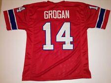 UNSIGNED CUSTOM Sewn Stitched Steve Grogan Red Jersey - M, L, XL, 2XL