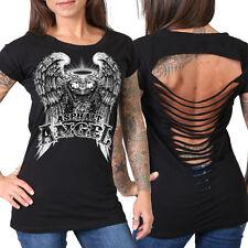 Ladies Asphalt Angel BLACK Motorcycle Slit Top Womens Biker Pima Cotton t-shirt