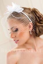(BHA-06) Braut Haarreifen Gesichtsschleier Netzschleier WEISS oder IVORY NEU