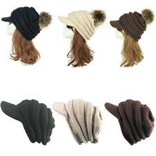 Fur Pom Beanie Knitted Visor Brim Winter Crochet Cable Knit Baggy Ski Hat Cap