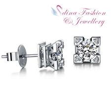 18K White & Rose Gold GP Fashion Paris Eiffel Tower French Kiss Stud Earrings