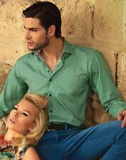BERTIGO Cesar 03 Green Mini Floral Print Button Casual Dress Shirt