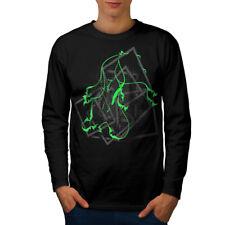 FASHION astratta elegante uomo manica lunga T-shirt Nuove | wellcoda