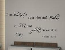 Wandspruch Das Schönste...Wilhelm Busch Wandtattoo Schlafzimmer Wallsticker