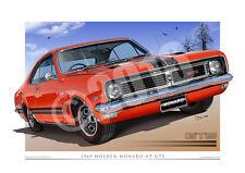 1969 Holden HT Monaro Art Prints - Monaro Car Drawings from Unique Autoart.