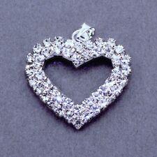 5x Rhinestone Crystal Diamante Heart Pendants Charms Wedding Embelishment