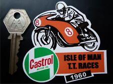 TT Races CASTROL 1960 stile casco/motocicletta adesivo