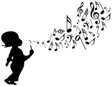 Stickers Autocollant Mural - Enfant musique - 57x74 cm - Réf: A076