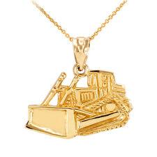 Yellow Gold Bulldozer Construction Pendant Necklace