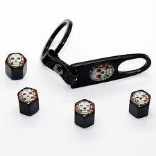 4 Ventilkappen + Schlüsselanhänger Totenkopf 2b Ventil chrom schwarz Radkappen