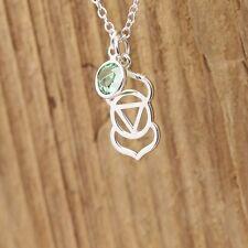 Sterling Silver Third Eye Chakra Yoga Charm Necklace Personalized Birthstone