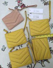 New STUART WEITZMAN Wristlet Canary Glove Calf Leather Studded Yellow/Pale Pink
