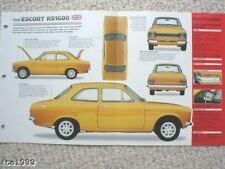 Ford ESCORT RS1600 / RS-1600 IMP Brochure: 1970,1971,1972,.......