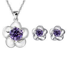 """Fashion Silver Flower Amethyst Purple Pendant Necklace Stud Earrings Set 18"""" B12"""