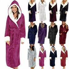Womens Ladies Fleece Dressing Gown Robe Long Sleeve Hooded Soft Bathrobe S-5XL