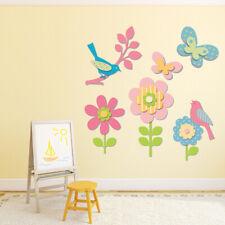 Pink Flowers & Birds Wall Decal Sticker Set WS-41321