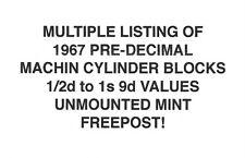 MULTIPLE LISTING. 1967 Machin Cylinder Blocks. 1/2d-1s 9d values. MNH. FREEPOST