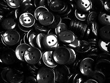 18 mm 28 L Negro 2 agujero Curvo Botones Craft Abrigo Chaqueta Niños Costura (W397)