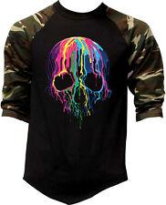 Men's Melting Neon Skull Camo Baseball Raglan T Shirt Day Of The Dead Halloween