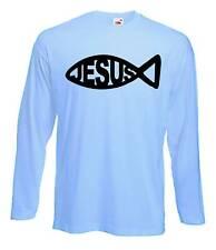 Gesù Manica Lunga T-SHIRT-I CRISTIANI Religioso Cristiano Croce-COLORE A SCELTA