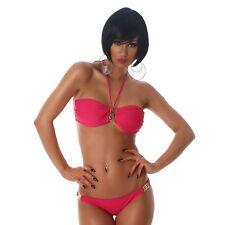 Bikini donna costume da bagno dettagli gioiello fascia due pezzi nuovo