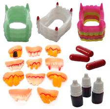 Halloween Teeth Fake Fangs Vampire Neon Goofy Blood Bottle Spray Syringe Glow🧛