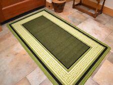 Dark Small Large Green Greek Key Long Runner Washable Floor Rugs Rubber Back Mat