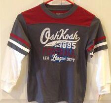 New OshKosh T-Shirt Boy's Kids Gray/Red/White Graphic Long Sleeve Size 5 or 6