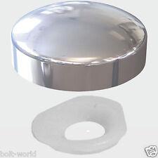 CHROME PLASTIC DOME SCREW COVER CAP SMALL 2 PIECE CLICK ON - PLASTIDOME CAPS