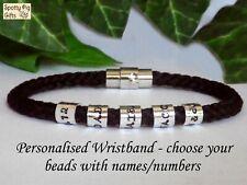 PERSONALISED Unisex Bracelet, Names Cuff Braided Black ANY SIZE Gift Family