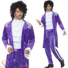 Mens 80s Musician Costume Prince Purple Rain Music Celebrity Fancy Dress Outfit