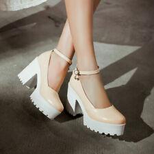 Women Cute Sweet Solid Color Sandals Waterproof Platform Thick Heels Shoes Size6