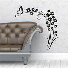 Blumen Wandtattoo  Blüten Wandsticker Wandbild Schmetterling Blume Blüte2