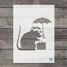 Banksy Umbrella Suitcase Rat STENCIL Craft Wall Urban Art Graffiti Airbrush