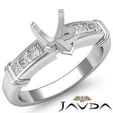 Diamond Engagement Channel Setting Ring Heart Semi Mount 14k White Gold 0.4Ct