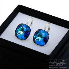 925 SILVER EARRINGS 10/12MM FANCY STONE- BERMUDA BLUE - CRYSTALS FROM SWAROVSKi®