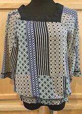 Nine West Vintage America Geo Print Crochet Lace Square Neck Blouson Top $59.50