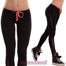 Pantaloni donna elastici sport velati fitness neri palestra leggings nuovi H9231